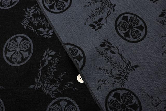 丸に剣三つ柏紋の風通織り