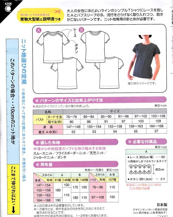 ミセスのTシャツの型紙